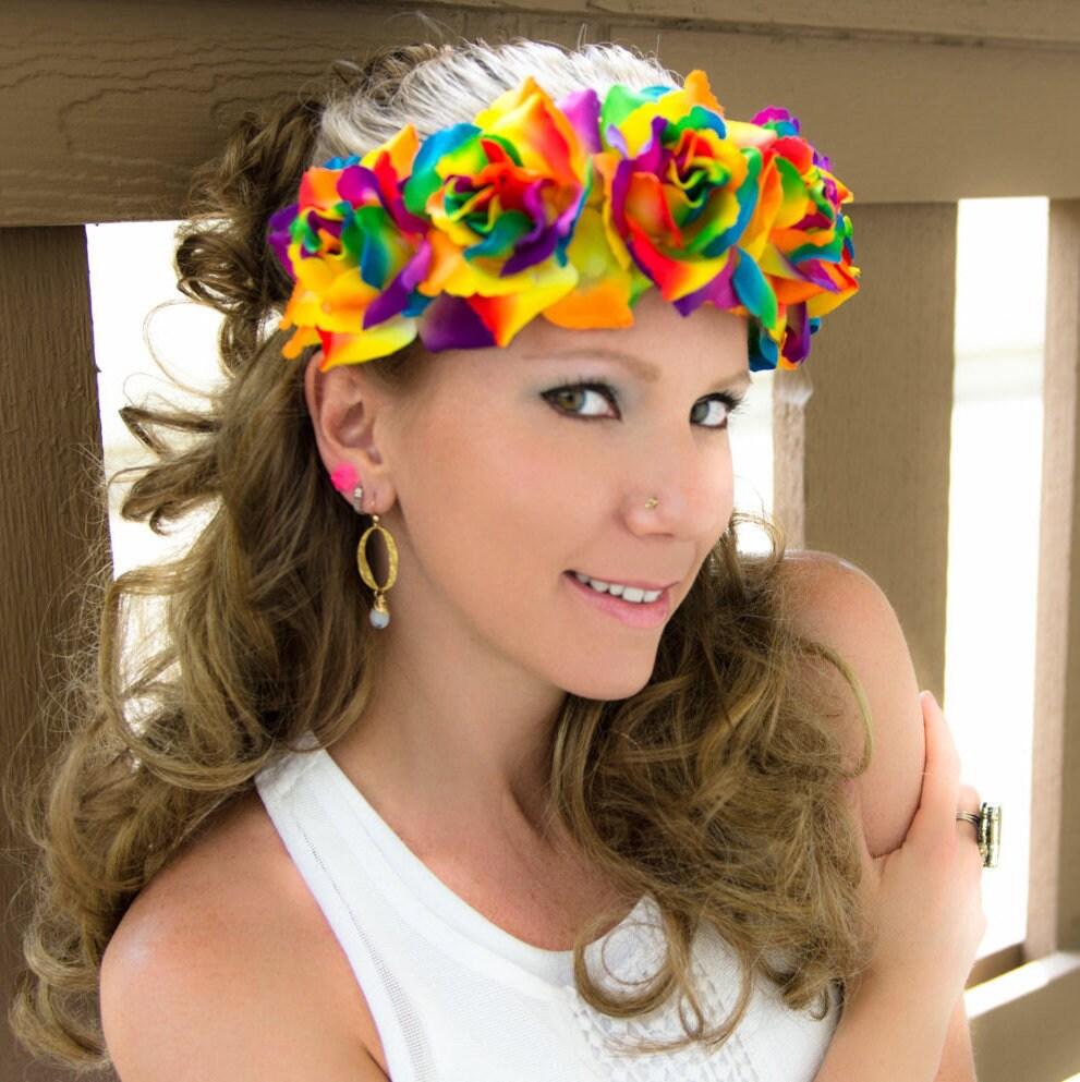 Rainbow rose flower crown izmirmasajfo
