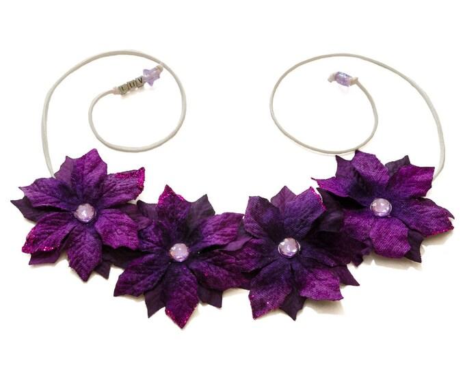 Purple Poinsettia Flower Crown