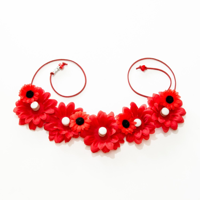 Red daisy led flower crown izmirmasajfo