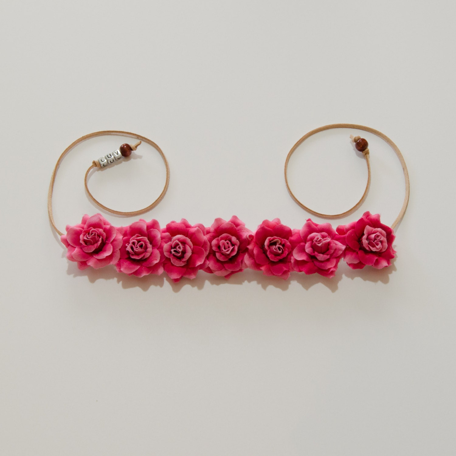 Dark pink rose flower crown izmirmasajfo