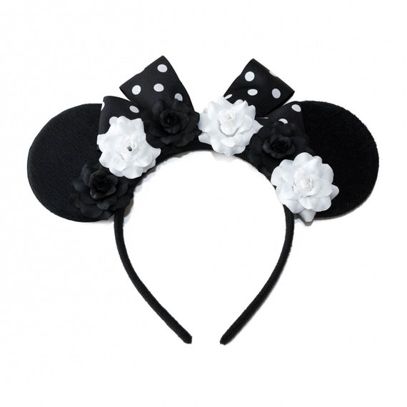 Flower Minnie Ears LED Minnie Ears Pink Black Mouse Ears Bridesmaid Minnie Ears Mickey Ears Wedding Minnie Ears Minnie Ears