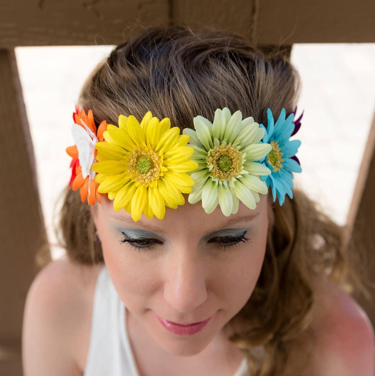 Rainbow Daisy Flower Crown