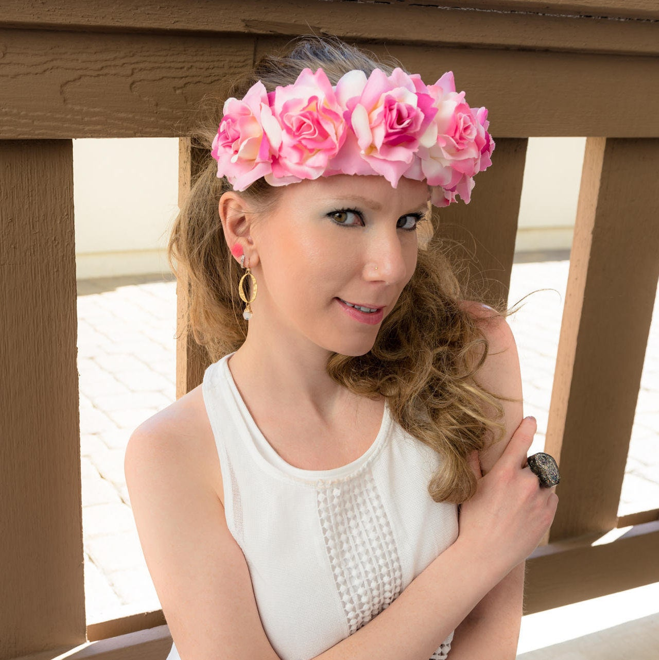 Pink white cream rose flower crown izmirmasajfo