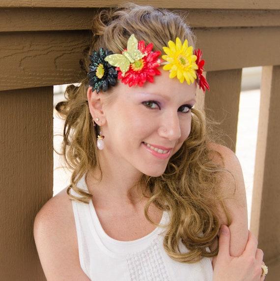 Rasta Daisy Flower Crown Flower Headband Rasta Headband  86f49cdfcfe