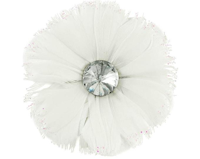 White Feather Rhinestone Flower Clip