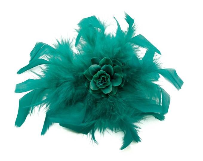 Aqua Feather Flower Clip