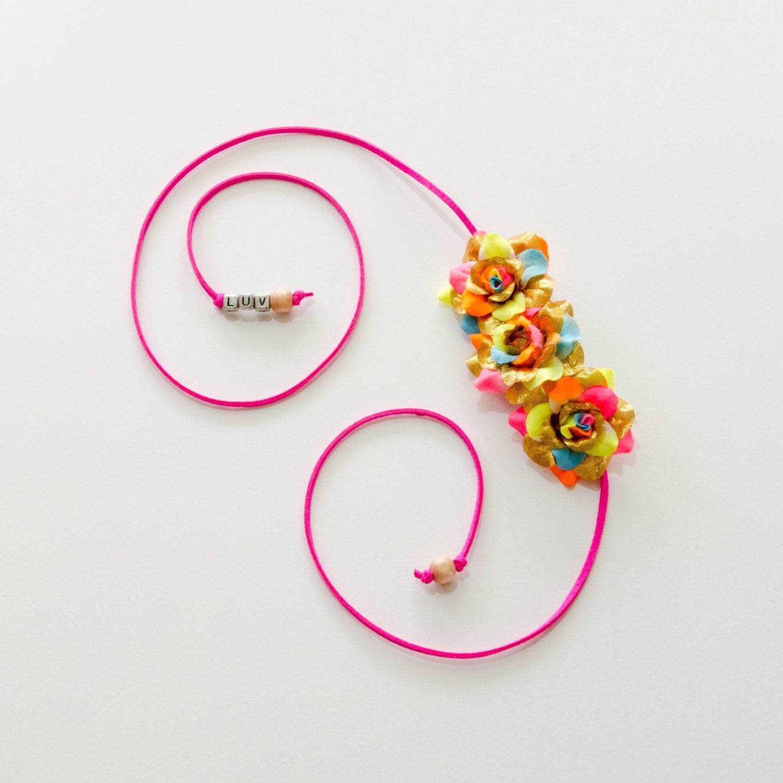 Gold Neon Rainbow Rose Side Flower Crown