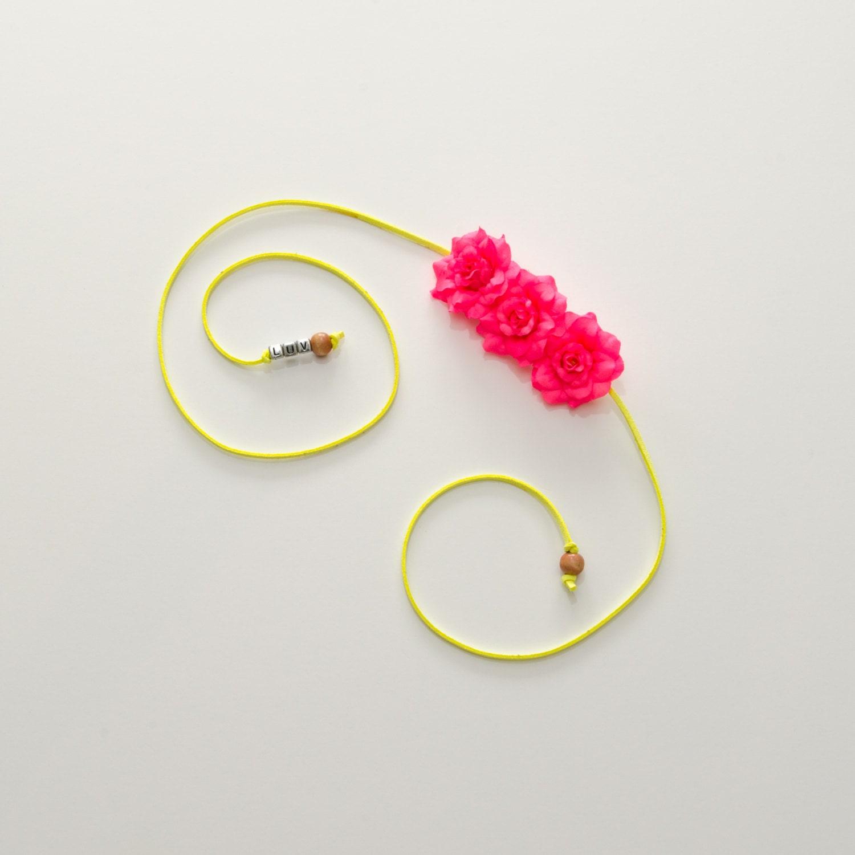 Neon Pink Rose Side Flower Crown