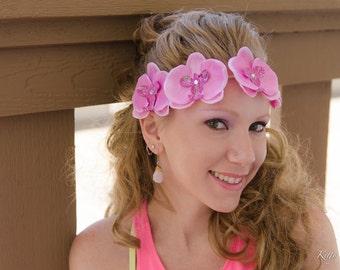 Pink Orchid Flower Crown, Flower Headband, Tropical Flower Crown, Tropical Hair Flower, Beach Headband, Summer Headband, Festival Headband
