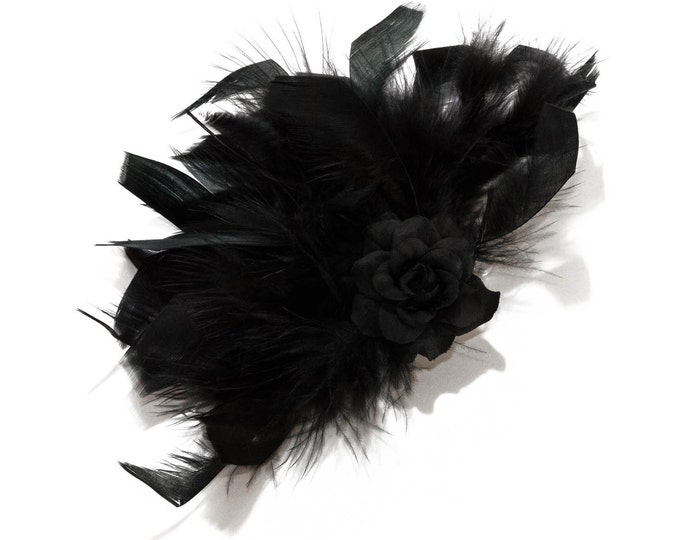 Black Rose Feather Clip