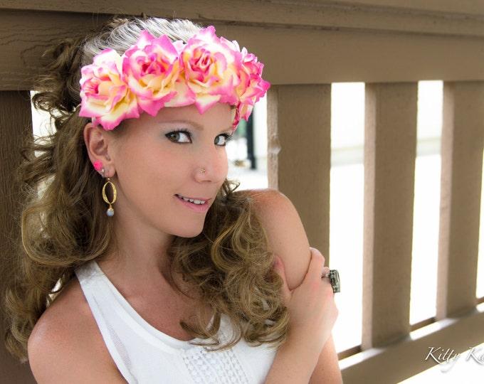 Pink Cream Rose Flower Crown