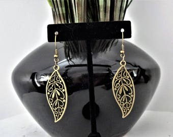 BRONZE LEAF EARRINGS - lightweight long leaf filigree earrings