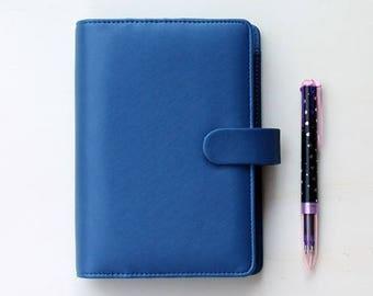 Personal planner binder, planner organizer, blue planner, A6 planner Saffiano in leatherette