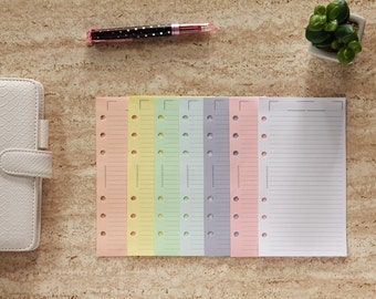Personal planner inserts printed, colored paper lined, notepaper sheets for planner binder pastel colours