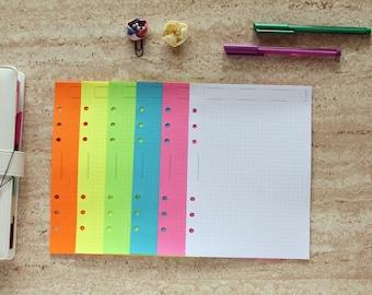 A5 planner, Notepaper sheets, dot grid planner inserts, planner notes fluorescent