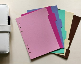 6 Planner Dividers Filofax A5, cardstock dividers colors pink, fuchsia, lilac, tiffany, yellow, brown