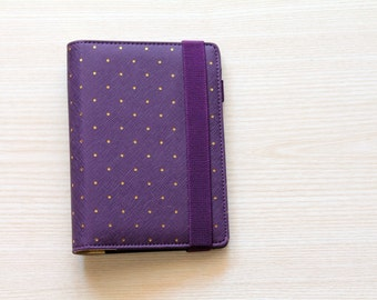 Agenda Personal, planner organizer, A6 planner viola ed oro a pois in similpelle