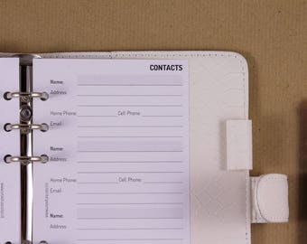 Refill Personal contacts, address inserts, printed inserts for planner, refill minimalist
