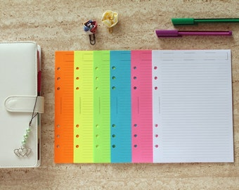 A5 planner inserts, coloured sheets fluo, ruled planner notepaper, coloured paper planner