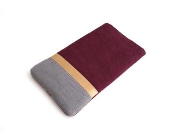 Phone case iPhone, Galaxy case, linen, grey, burgundy