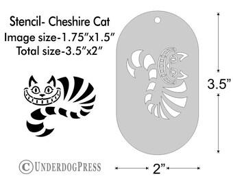 Cheshire Cat Stencil Image Size 1.75x1.5 on 3.5x2 Border