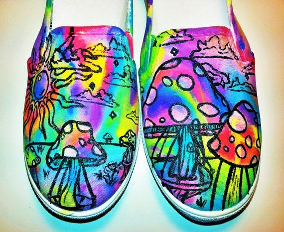 trippy shroom custom shoes etsy