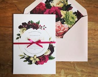 Retro Roses wedding stationery // vintage style // save the date cards // wedding invitations // pocketfold invitations