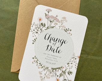 Summer Meadow Change of Date card | Wedding date change | Wild Flowers wedding