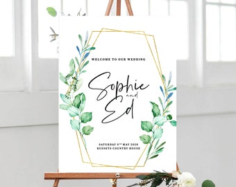 Eucalyptus wedding welcome sign // gold geometric design // welcome board // modern wedding