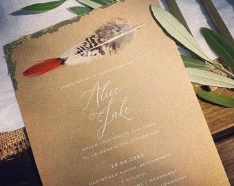 Boho Feather wedding invitation / menu / white ink on kraft card with gold leaf
