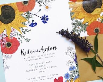 Sunflowers & Poppies wedding invitation and matching stationery // wildflowers wedding invite