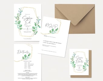 Eucalyptus wedding invitations // save the date cards // wedding stationery // foliage wedding