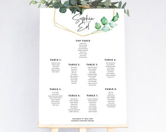 Eucalyptus wedding table plan // geometric design // gold and green