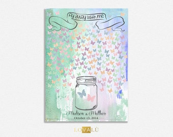 Custom wedding guest book alternative Romantic Wedding Guestbook jar with butterflies pastel colors Choose your color & number of signatures