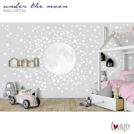 Kids Wallpaper Moon With Stars Wall Decal For Nursery Children S Room Bedroom Mural Self Adhesive Moon Stars Wall Decals Peel Stick