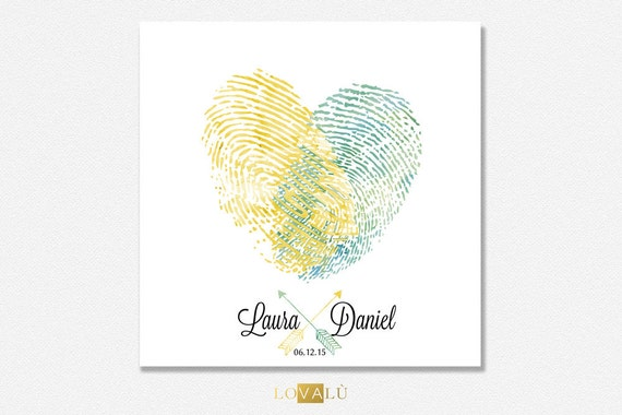 Fingerprint wedding guestbook. Thumbprint guest book heart. | Etsy