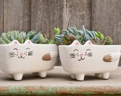 Quirky Handmade White 39 Molly 39 Cat Plant Pot Planter
