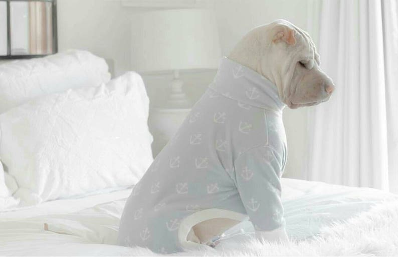 Anchor Blue Hooded Rollneck Custom Dog Jumpsuit | Stay at Home Mum