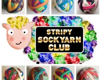 1, 2, 3, 6, 12  months Stripy Sockyarn Club