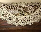 Lovely Scandinavian vintage hand crocheted round table cloth in light beige from Sweden 1960s.