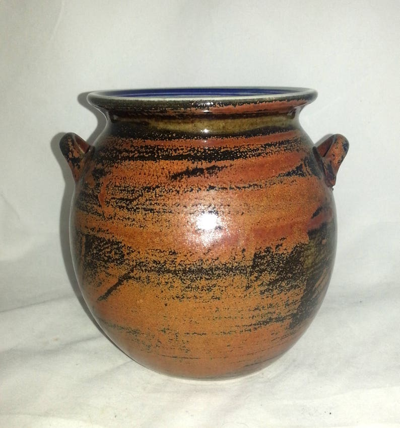 the artists own Pottery Studio. Signed Stoneware Pot with handle  by Carl-Harry St\u00e5lhane Designhuset