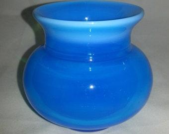 Scandinavian blue signed vase Erik Höglund Boda Glassworks Sweden.