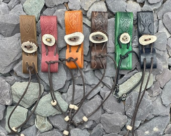 Leather and Antler Tankard Belt loop hanger, biker, outdoorsman, larp