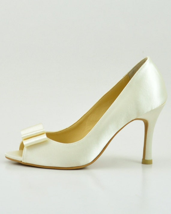 d768aef84f377a Ivory Satin Wedding Shoes with Bow Ivory Satin with Bow