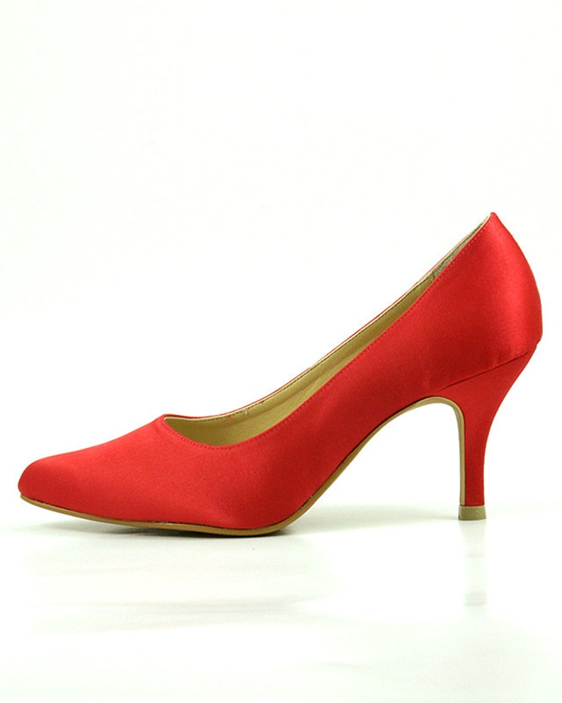ed577737dc2c Red Satin Wedding Shoes Red Satin Bridal Shoes Scarlet
