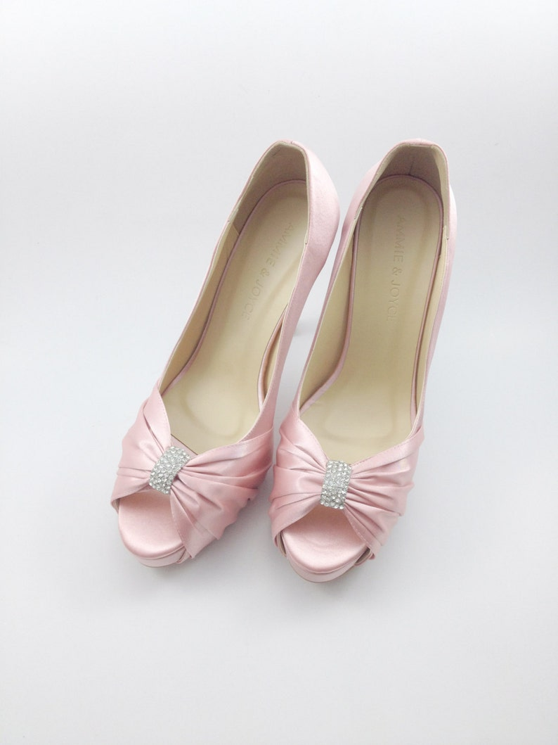 3e85419f975 Sweet Pink Wedding Shoes with Rhinestones Pastel Pink Bridal