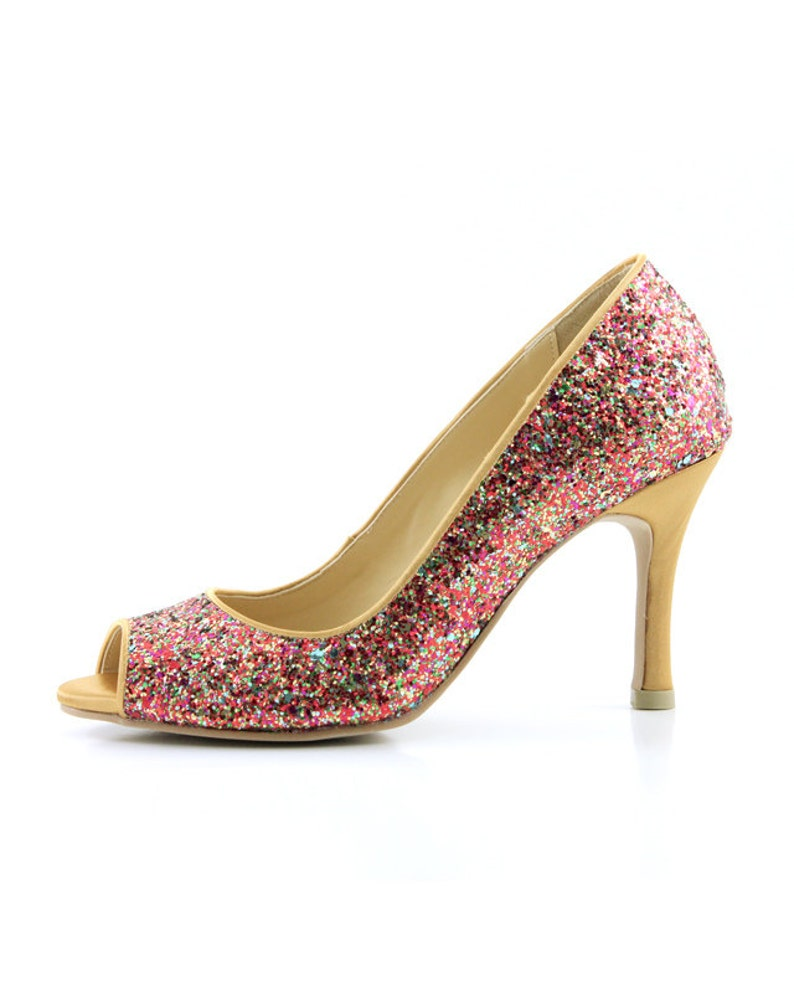e022eac49c0b Red Multicolor Glitter Wedding Shoes Red Glitter Bridal