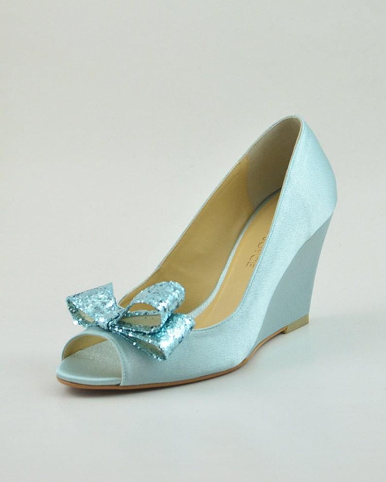 c972b70c0f98 Something Blue Wedding Shoes Blue Glitter Wedding Wedges