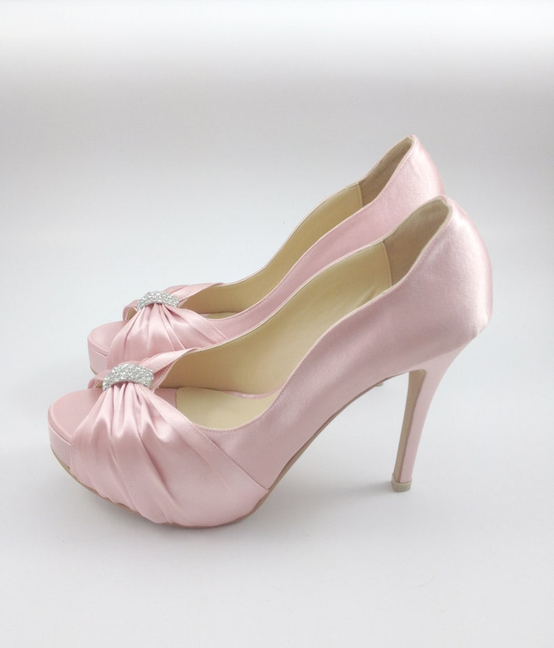 4da4afb75891 Sweet Pink Wedding Shoes with Rhinestones Pastel Pink Bridal
