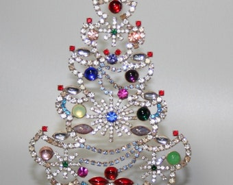 Rhinestone Christmas Tree with Swinging Garlands, Vintage Table Top Ornament, Home Decoration